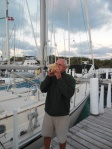 Ron blowing the Conch horn