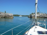 Entering the narrow cut into Hatchet Bay