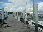 Randy tying off the boat at Boat Harbour