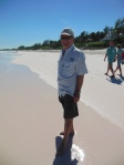 Randy on the pink sand beach of Harbour Island