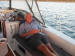 Resting after arrival at Lynyard Cay