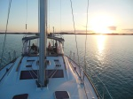 Leaving Hawksbill at sunrise and heading out for ocean crossing to Eleuthera