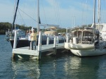 Louise and Guy wave goodbye from the dock in Hopetown as we leave
