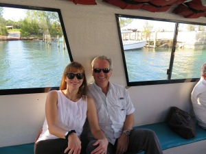 On the ferry from Treasure Cay to Green Turtle Cay where Silver Maple is stored