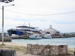 The ferry docked at Harbour Island