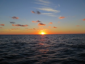 Sunrise as we leave Lynyard Cay and head for Royal Harbour in North Eleuthera
