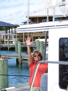 Sharon on Emerald Lady is docked next to us in Spanish Wells Yacht Haven