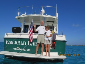 Sharon and Pete wave goodbye from Emerald Lady