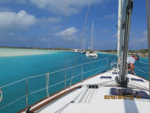 Securing the anchor at Wardrick Wells in the Exuma Land and Sea Park