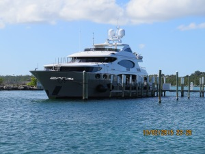 This large boat is docked at Boat Harbour while they film the show 'Below Deck', a reality series about crew on a large yacht