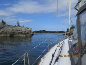 Entering the narrow cut into Hatchet Bay