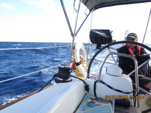 Big waves and wind making the ocean crossing to the Exumas makes the captain feel a bit under the weather