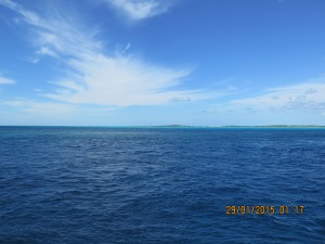 Arriving to calm waters in the Exumas