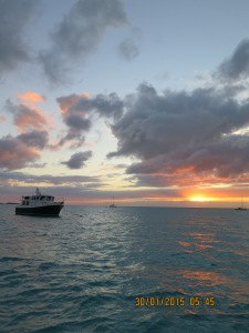 Emerald Lady at sunset in the Exuma Land and Sea Park, Emerald Rock mooring field