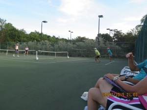 Pickle ball with Sharon and Pete (Emerald Lady) and a lot of other folks