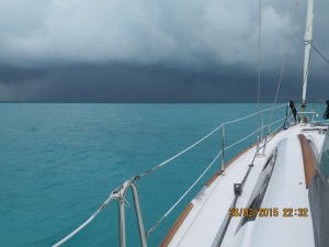 Thunder storms threaten as we arrive in the cut at Green Turtle Cay