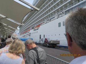 Boarding the cruise ship in Papeete, Tahiti