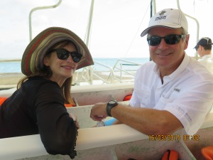 Lee and Randy on the snorkeling trip in Moorea to see sharks and stingrays