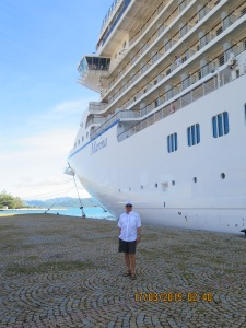 Randy in front of the ship in Raiatea, French Polynesia