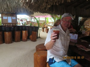 Enjoying the signature beverage at Bloody Mary's Beach Bar