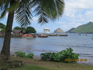 Marina anchored at Nuku Hiva, Marquesas Islands