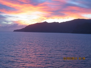 Sunset as we leave Nuku Hiva