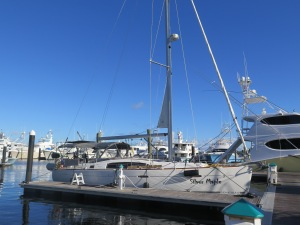 Silver Maple at the dock at Old Port Cove Marina. All set and ready to do the Gulf Stream crossing.