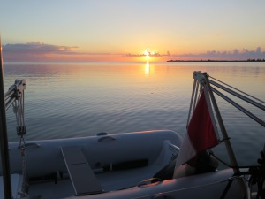 Sunset at Great Sale Cay behind Silver Maples new dingy.