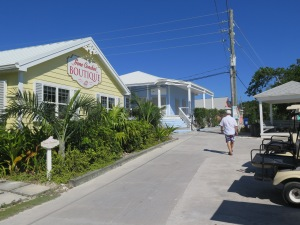 Walking through town on Great Guana Cay.