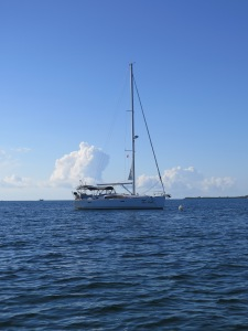At anchor in Fisher Bay, Great Guana Cay.